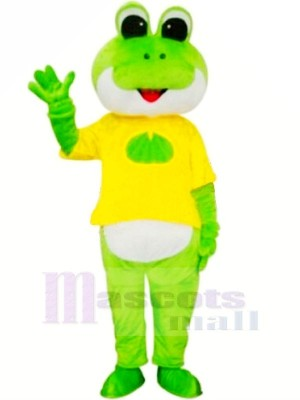 La grenouille avec Jaune T-shirt Mascotte Les costumes