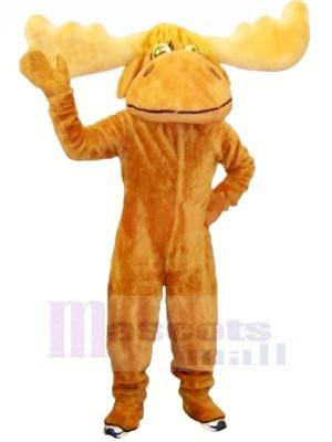 Amical marron élan Mascotte Les costumes Pas cher
