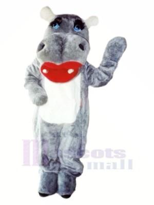 Charmant Gris Hippopotame Mascotte Les costumes Dessin animé
