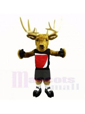 Buck sportif avec une chemise noire Costumes de mascotte adulte