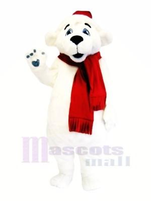 blanc Ours avec rouge Écharpe Mascotte Les costumes Dessin animé