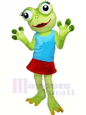Fille La grenouille avec Bleu Gilet Mascotte costumes dessin animé