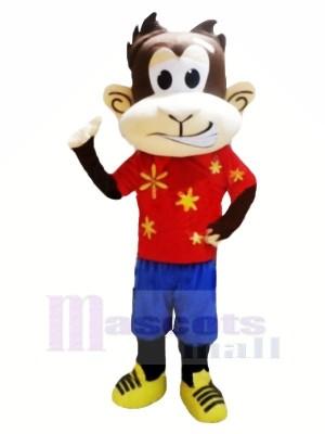 Drôle Singe avec rouge T-shirt Mascotte Les costumes Pas cher