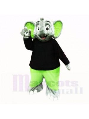 vert l'éléphant avec Noir Chemise Costumes De Mascotte Dessin animé