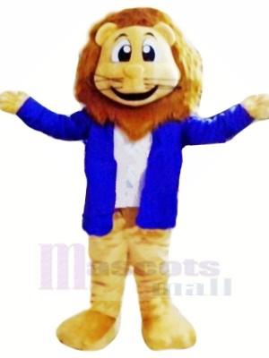 Lion Avec Bleu Veste Mascotte Les costumes Dessin animé