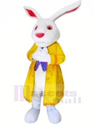 lapin avec Jaune Veste Mascotte Les costumes Animal