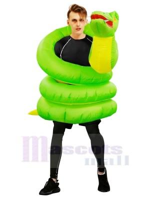 Gonflable vert Serpent Boa Python Costume Halloween Noël pour Adultes