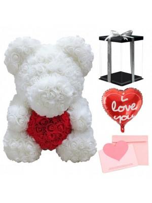 blanc Ours rose Ours fleur avec rouge Cœur pour Fête des mères, La Saint-Valentin, Anniversaire, Mariages et anniversaires