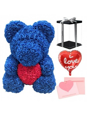 Bleu Ours rose Ours fleur avec rouge Cœur pour Fête des mères, La Saint-Valentin, Anniversaire, Mariages et anniversaires