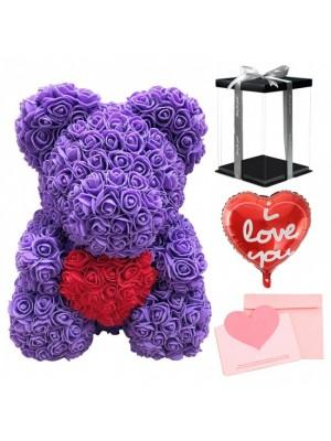 Violet Ours rose Ours fleur avec rouge Cœur pour Fête des mères, La Saint-Valentin, Anniversaire, Mariages et anniversaires