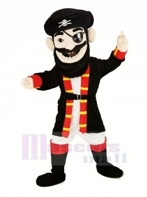 Barbe Pirate dans rouge Manteau Mascotte Costume Gens