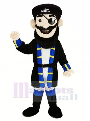 Barbe Pirate dans Bleu Manteau Mascotte Costume Gens
