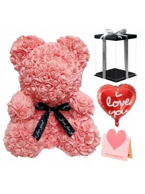 Rose rouge Ours rose Ours fleur pour Fête des mères, La Saint-Valentin, Anniversaire, Mariages et anniversaires