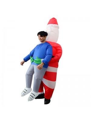 Père Noël Claus Porter moi Gonflable Costume Halloween Noël Costume pour Adulte