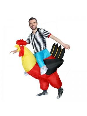 rouge Coq Porter moi Balade sur Gonflable Costume Halloween Noël Costume pour Adulte/enfant