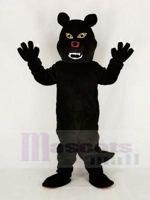 Féroce Noir Loup Mascotte Costume Dessin animé