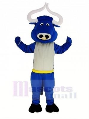 Bleu Muscle Taureau Bœuf Mascotte Costume Animal