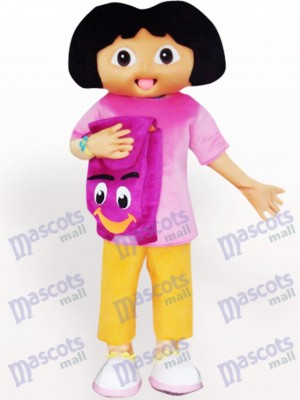Costume de mascotte adulte Dora Cartoon noir visage solide