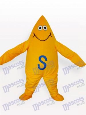 Costume de mascotte adulte de dessin animé étoile de mer jaune
