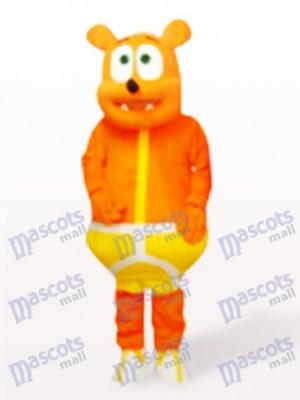 Costume de mascotte de dessin animé d'ours jaune monstre