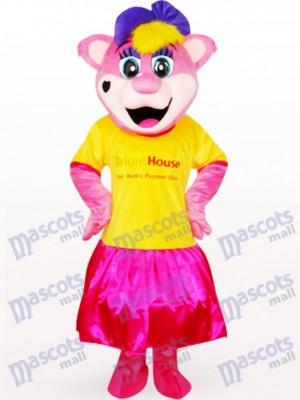 Ours de Pipi jaune femelle avec le costume de mascotte de logo d'anime