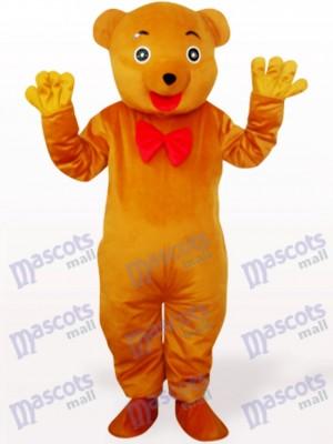 Costume de mascotte adulte en peluche ours jaune brunâtre