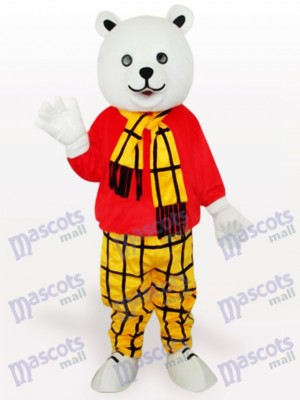 Ours en costume de mascotte de dessin animé de chemise rouge