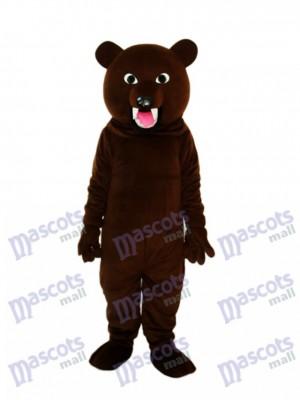 Déguisement de mascotte en dent de grand ours noir gris animal