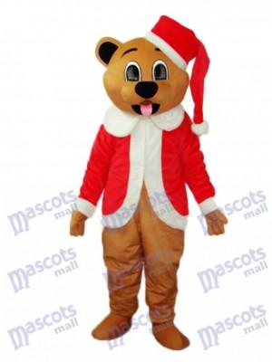 Déguisement de mascotte d'ours de Noël marron Animal