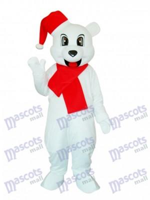 Costume adulte mascotte ours de Noël blanc