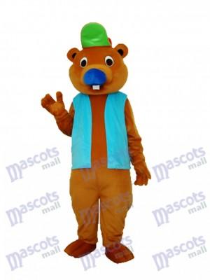Castor avec une chemise bleue Mascotte Costume adulte Animal