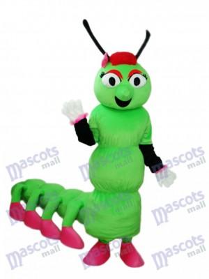 Ver vert avec l'insecte de costume adulte de mascotte de queue longue