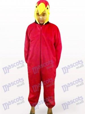 Costume de mascotte d'oiseau ouvert de perroquet rouge d'enfants