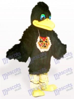 Costume de mascotte adulte noir oiseau oiseau cheveux