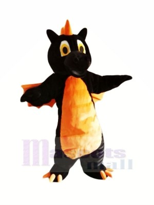 Noir Dragon avec Orange Ailes Mascotte Les costumes Animal