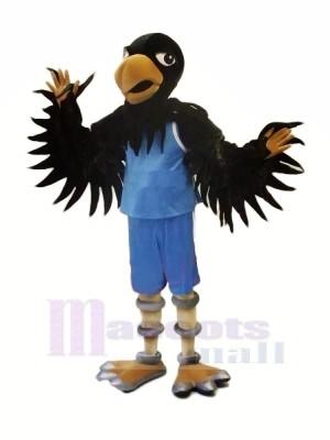 Noir faucon avec Bleu Costume Mascotte Les costumes Animal
