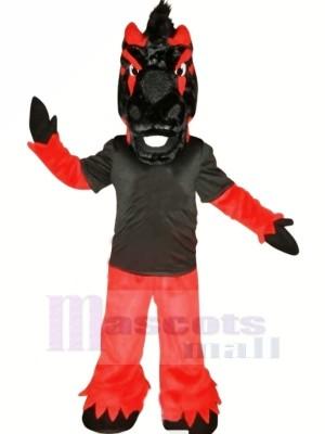 Noir et rouge Cheval Mascotte Les costumes Animal