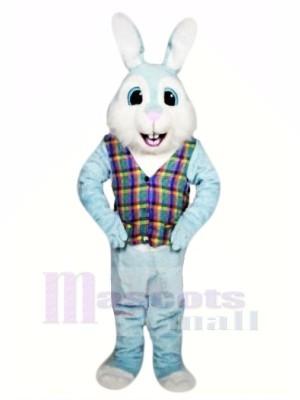 Bleu Pâques lapin avec Coloré Gilet Mascotte Les costumes Animal