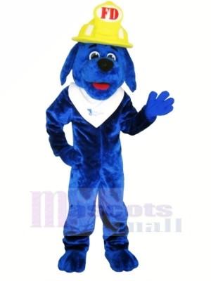 Bleu Feu Chien avec Jaune casque Mascotte Les costumes Animal