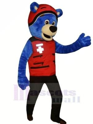 Bleu Ours avec rouge Chapeau Mascotte Les costumes Animal
