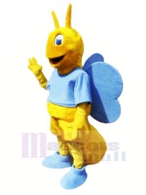Papillon avec Bleu Ailes Mascotte Les costumes Animal