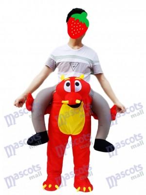Fire Dragon Piggyback Portez-moi le Costume de mascotte Dragon Rouge