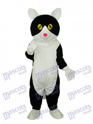 Costume adulte de mascotte chat blanc ventre noir Animal