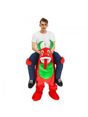 rouge Dragon avec vert Blé Porter moi Balade sur Halloween Noël Costume pour Adulte