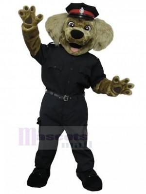 Costume de mascotte de chien policier brun souriant en uniforme noir animal