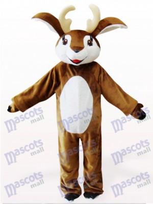 Déguisement de mascotte animal cerf marron et blanc