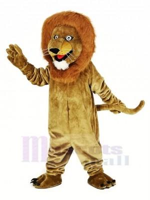 marron Souriant Lion Mascotte Costume Animal