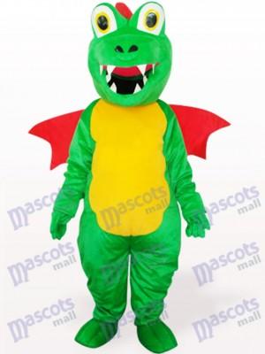 Dinosaur vert avec costume de mascotte adulte Red Wing