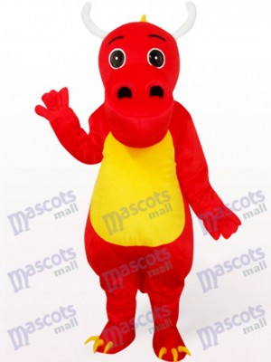 Costume de dinosaure en mascotte de vêtements rouges