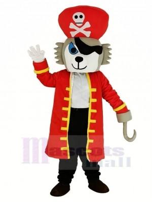 Pirate Loup avec rouge Manteau Mascotte Costume Animal
